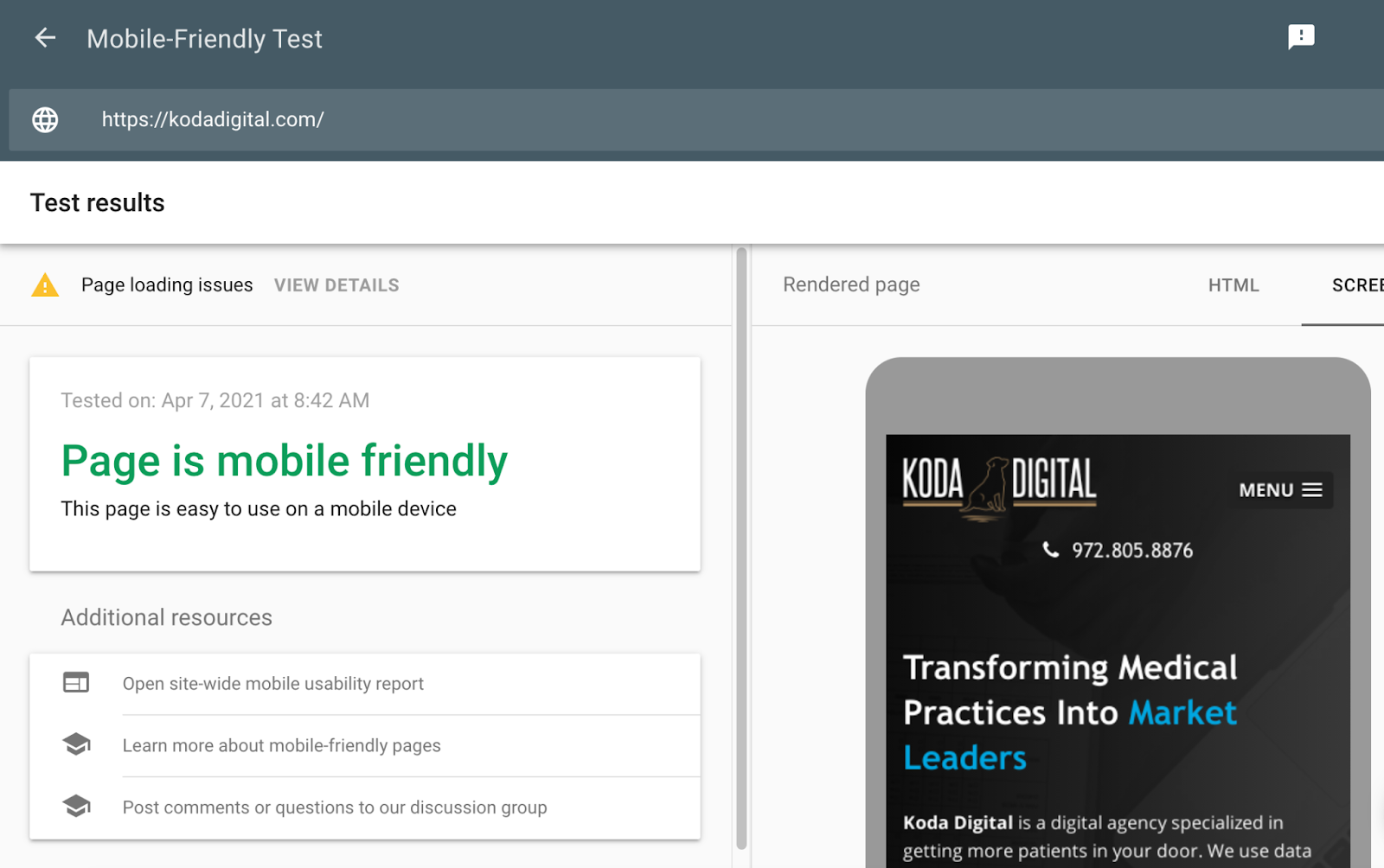 Screenshot image of the Google website mobile-friendly testing tool that shows that the Koda Digital website is mobile-friendly and optimized for mobile users