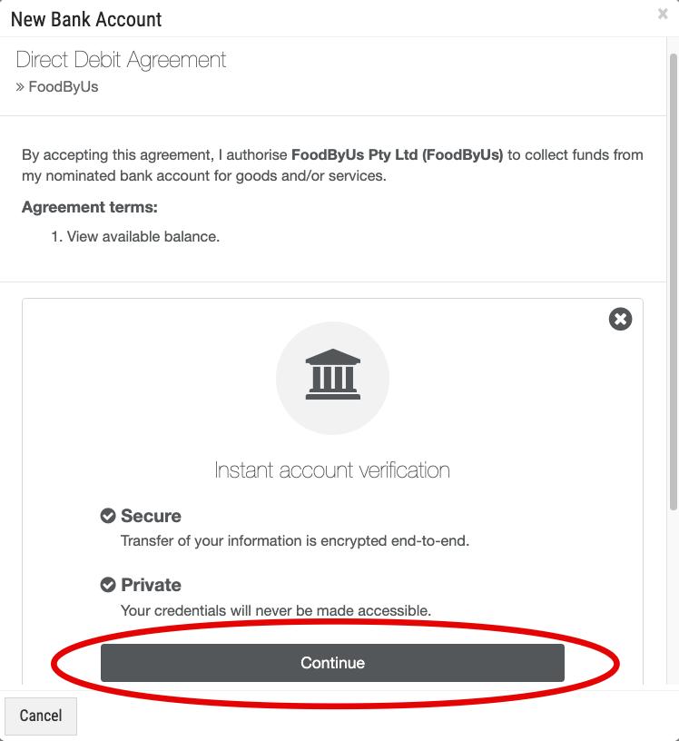 FoodByUs_bank_account_payment_direct_debit_agreement