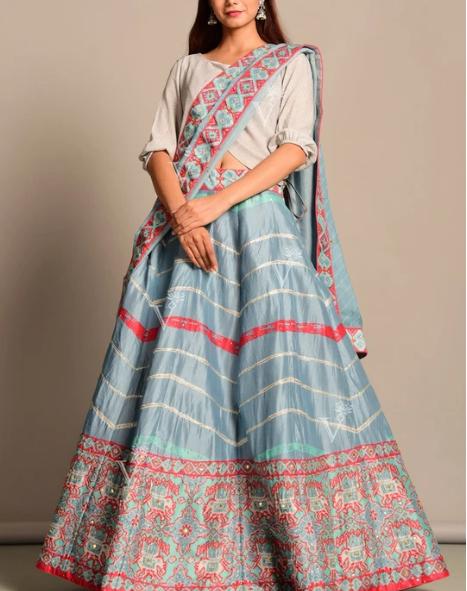 Design #5: Powder Blue Vasansi Silk Leheriya Lehenga Set