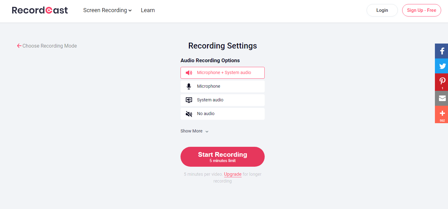 RecordCast Review - Recording options
