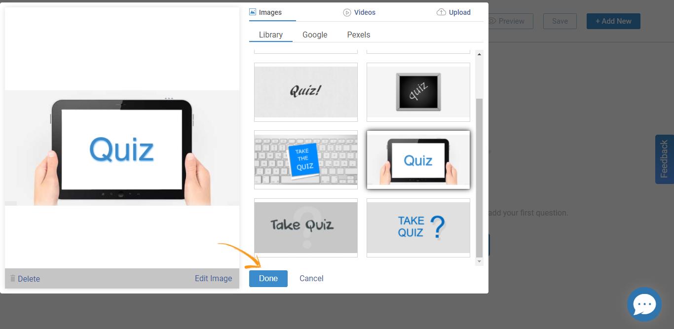 Selecting Quiz Image