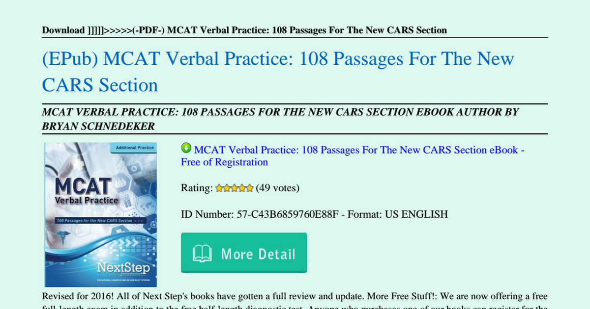 MCAT-Verbal-Practice-108-Passages-For-The-New-CARS-Section pdf