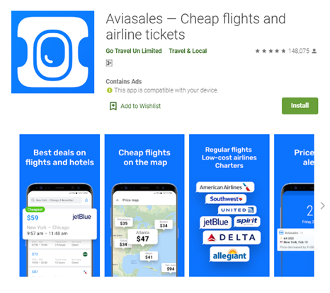 Mobile app type - Travel - Aviasales