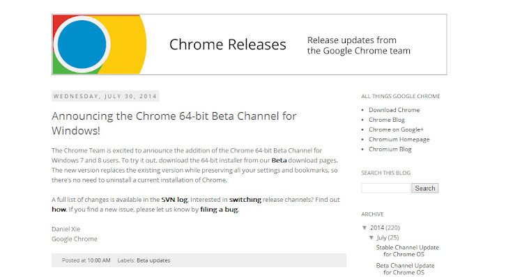 Google Chrome blog: rilis beta 64 bit