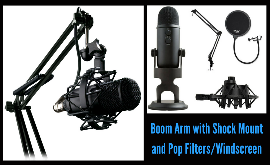 boom arm - pop filter - how to create a podcast studio