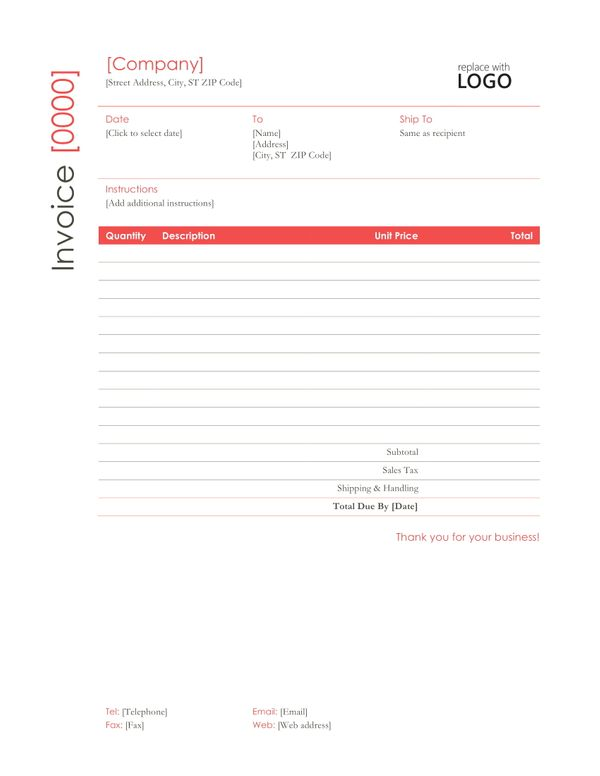 Professional Word Invoice Template in Red