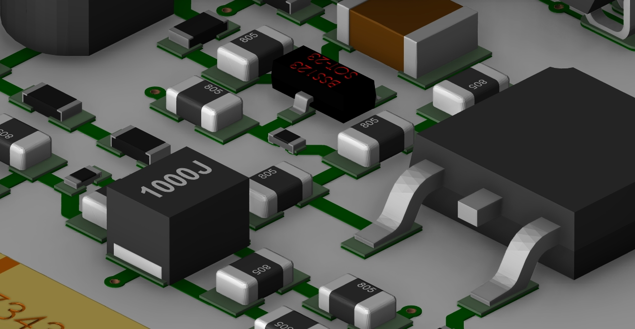 Screenshot of OrCAD PCB Designer 3D layout closeup of component placement