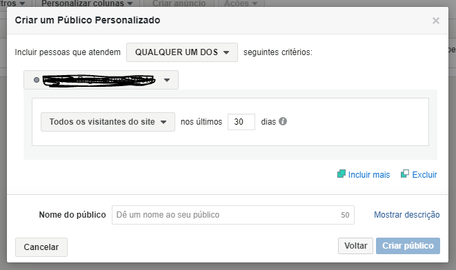 criando publico remarketing facebook ads