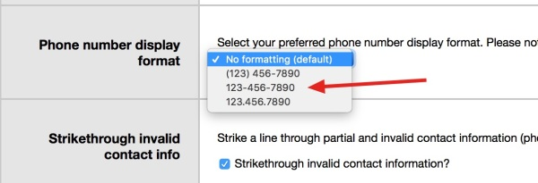 formatting your phone number data