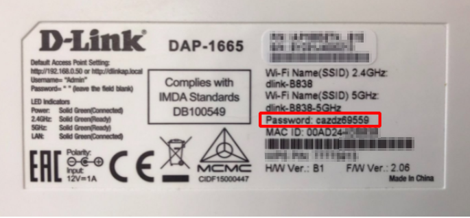 Find Network Security Key on D-Link DAP-1665 Wireless Access Point. Source: nudesystems.com