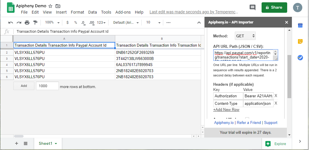 Paypal API data in Google Sheets