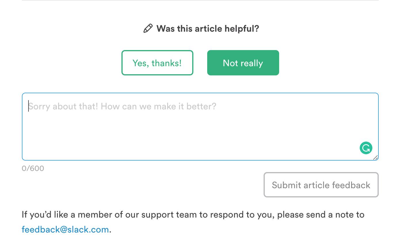 Slack FAQ feedback form.