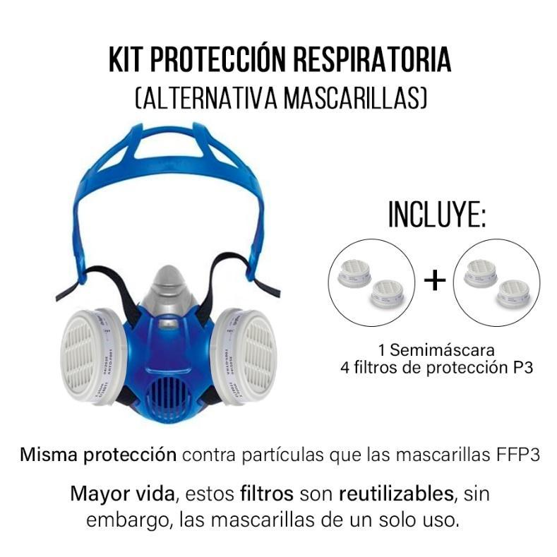 Semimáscara con filtros P3 protección respiratoria