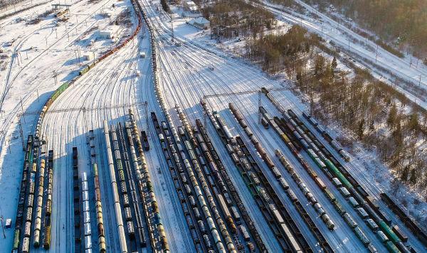 Товарные поезда стоят на станции Бекасово-Сортировочное