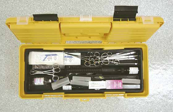 Suture, simple surgical instruments, heparin, slides for smears and injectable antibiotics