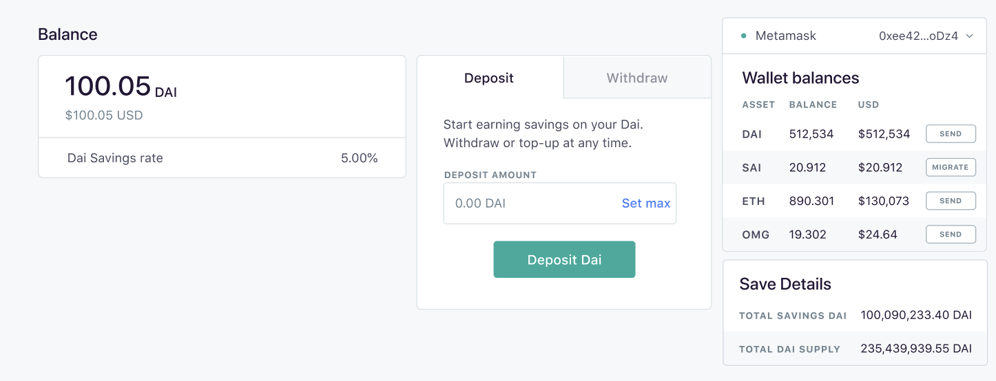 MakerDao's Dai Savings Rate platform