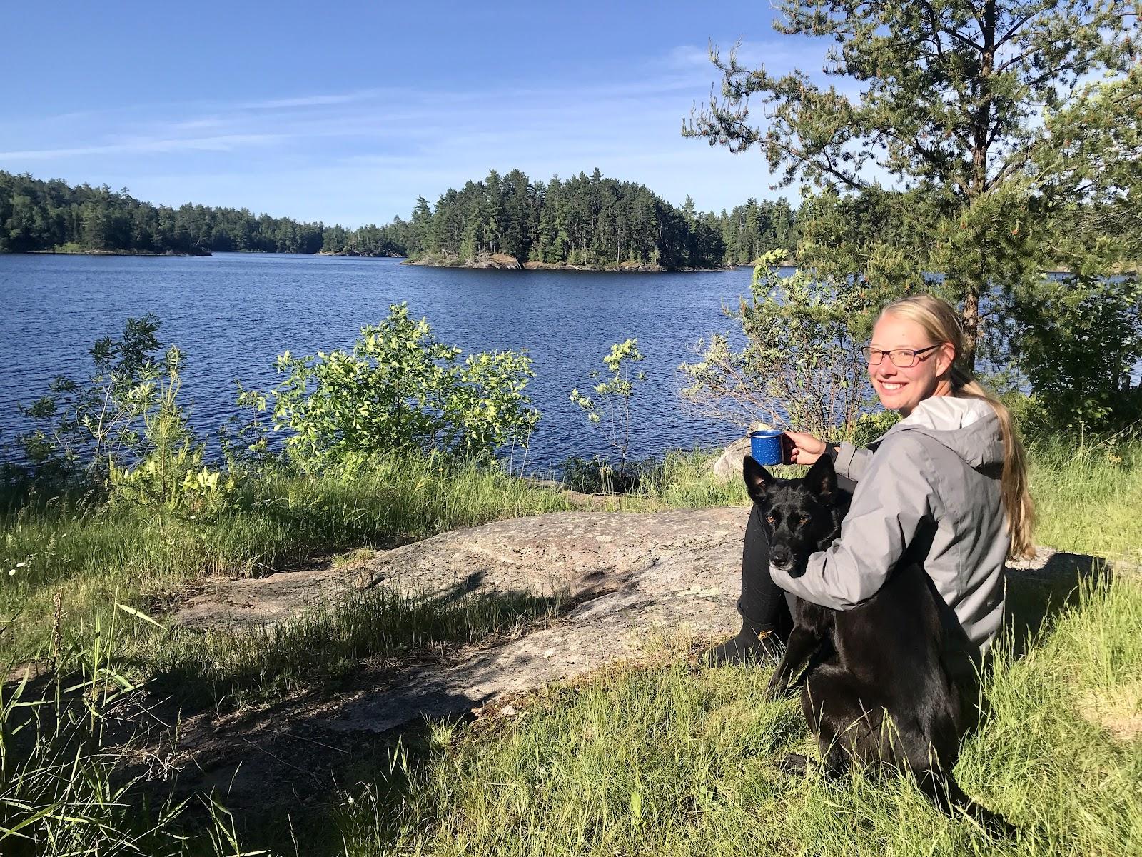 Annie and Luna lake side in the BWCA.