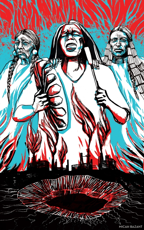 Artwork by Kandi White, Indigenous Environmental Network, CultureStrike and Micah Bazant