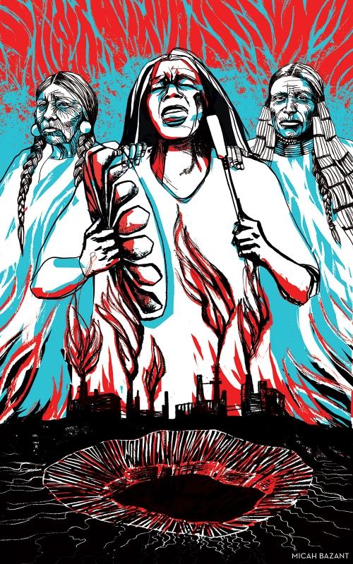 Artwork by Kandi White, Indigenous Environmental Network, CultureStrike and Micah Bazant