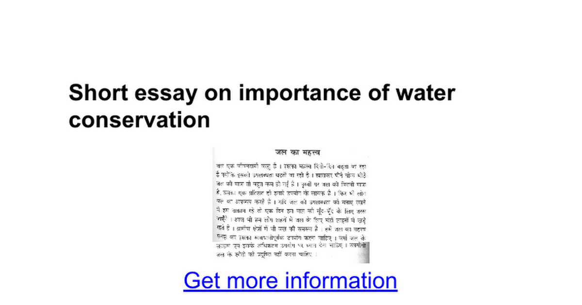 an essay on water management Sustainable management of water resources (including provision of safe and reliable supplies for drinking water and irrigation, adequate sanitation.