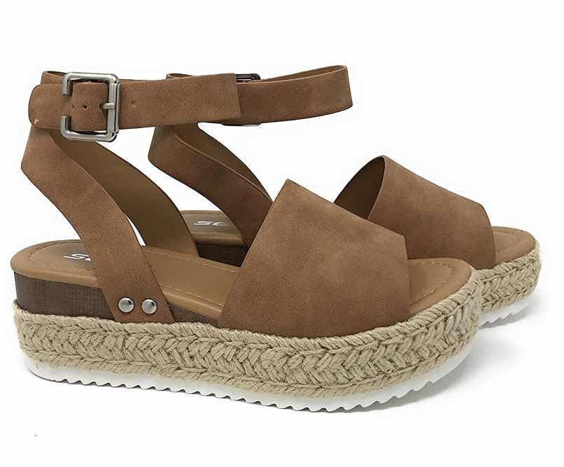 Wedge Sandals for Women,Womens Casual Espadrilles Trim Rubber Sole Flatform Studded Wedge Buckle Ankle Strap Open Toe Sandals