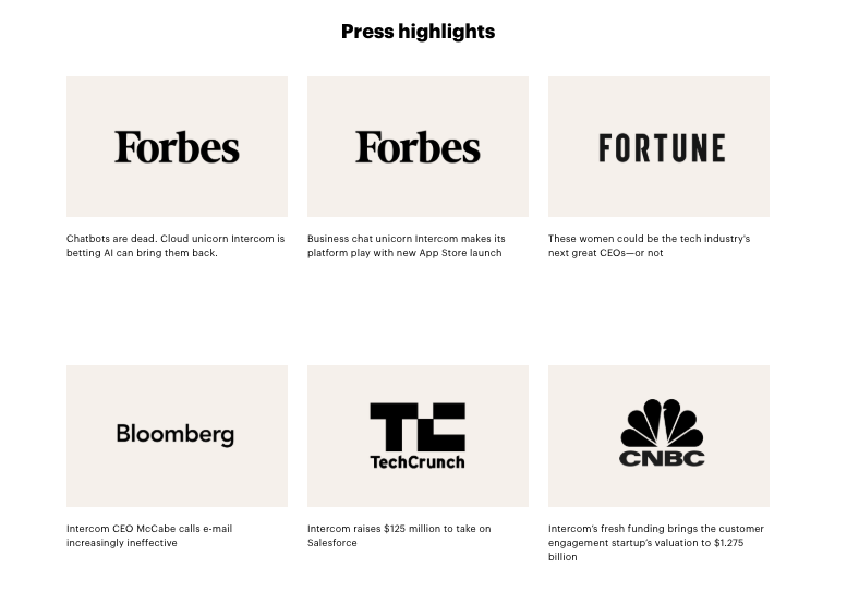 Intercom uses many press testimonials to highlight their popularity and brand trust.