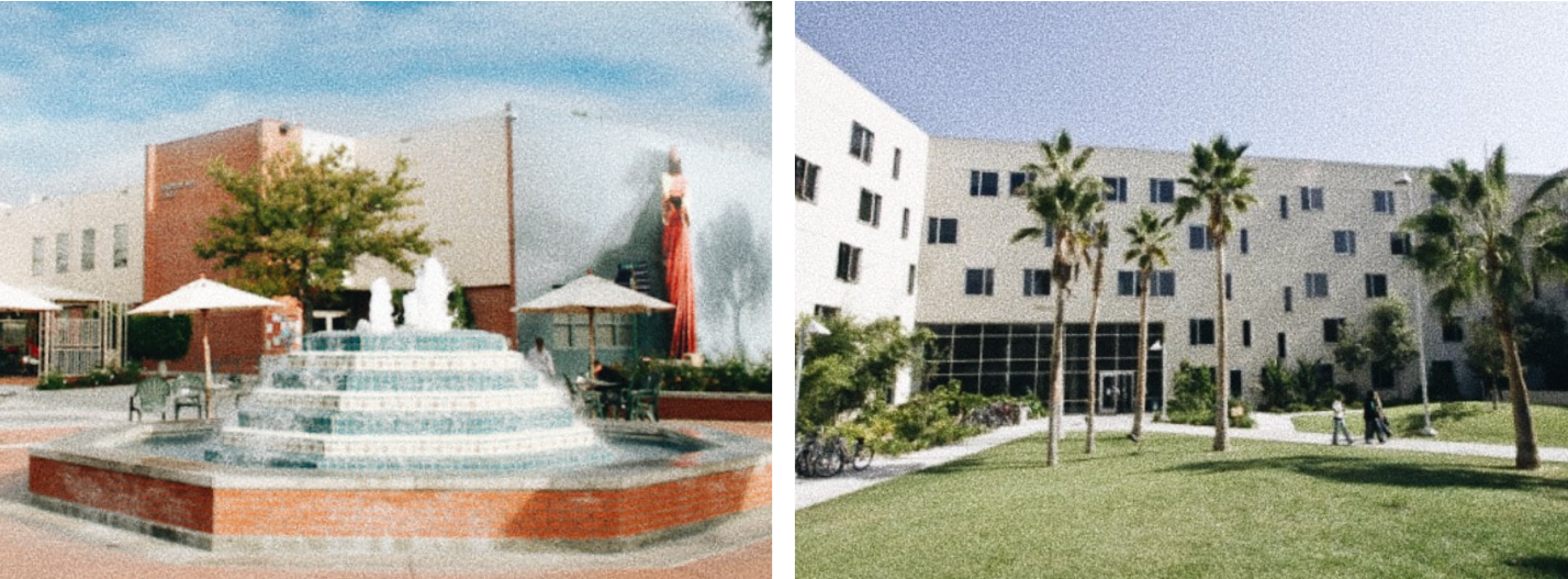A photo of two buildings on campus: Fluor Fountain with the Jesus Mural in the background painted on Bardwell building, and Horton Hall with its notable palm trees