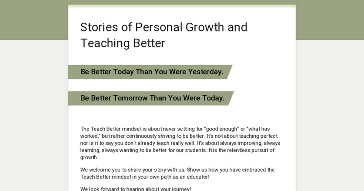 Stories of Personal Growth and Teaching Better