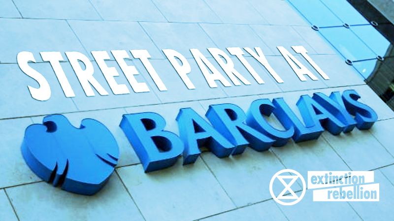 "Photo of a Barclays building sign, edited to say ""Street party at Barclays""."