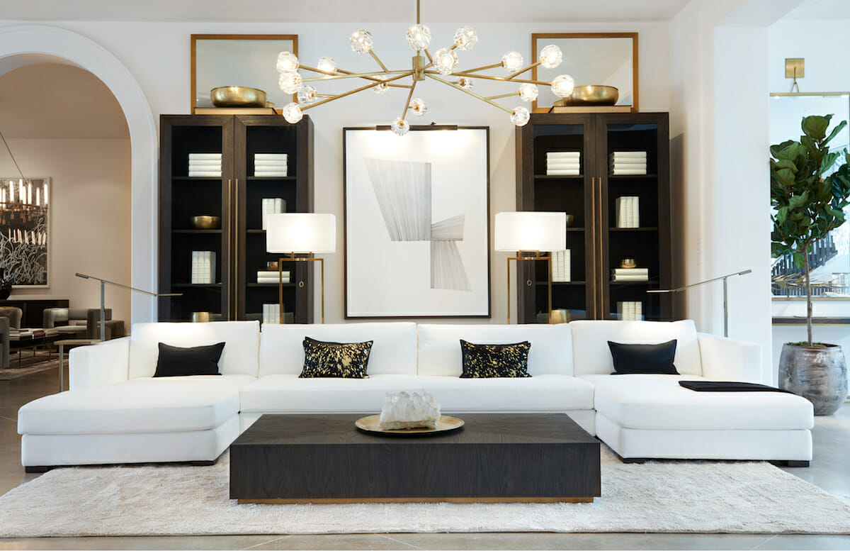 Luxury living room interior design with gold chandelier