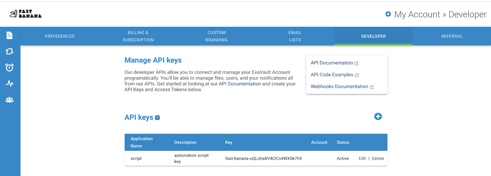 Manage v2 API keys in the ExaVault app.