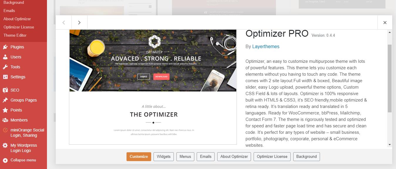 Optimizer Theme Pro