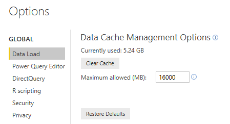 Example of setting the maximum allowed cache size in PowerBI Options