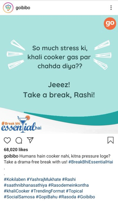 "The image shows how Goibibo leveraged the ""Rasode mein kaun tha"" trend to its advantage"