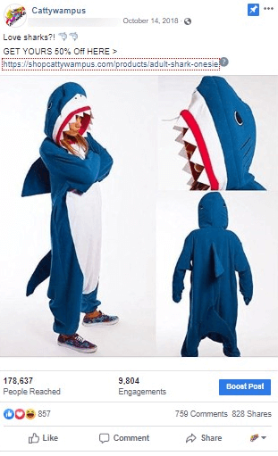 a shark onesie being modeled on an instagram ad