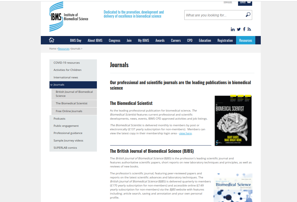 Institute of Biomedical Science (IBMS)