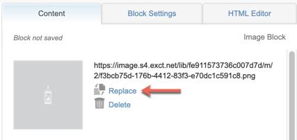 Capture d'écran montrant une flèche rouge pointant sur le lien hypertexte Remplacer.