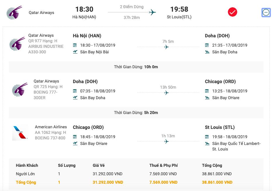Vé máy bay từ Hà Nội đi Saint Louis của Qatar Airways