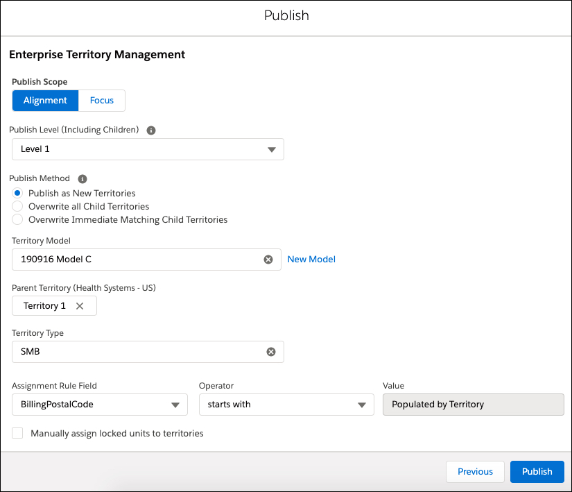 In the Publish Enterprise Territory Management dialog box, options required to publish are displayed.