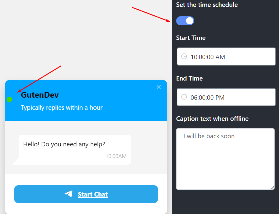 Live chat set the time schedule