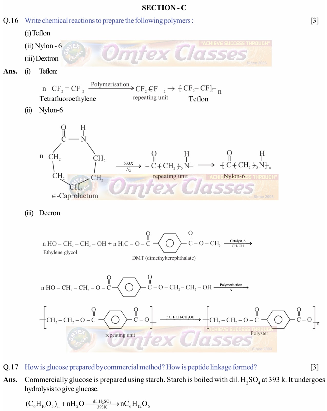 OMTEX CLASSES MAHARASHTRA : Chemistry exam Paper Solution