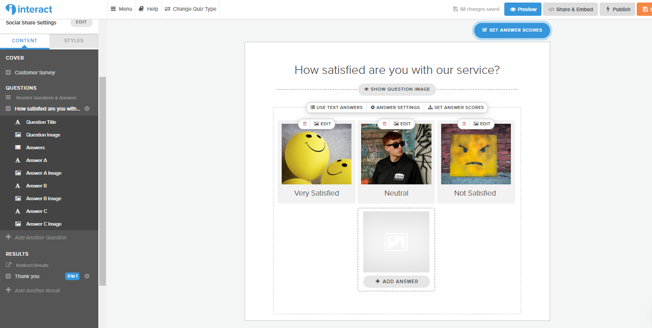 screenshot of how to make survey questions in Interact