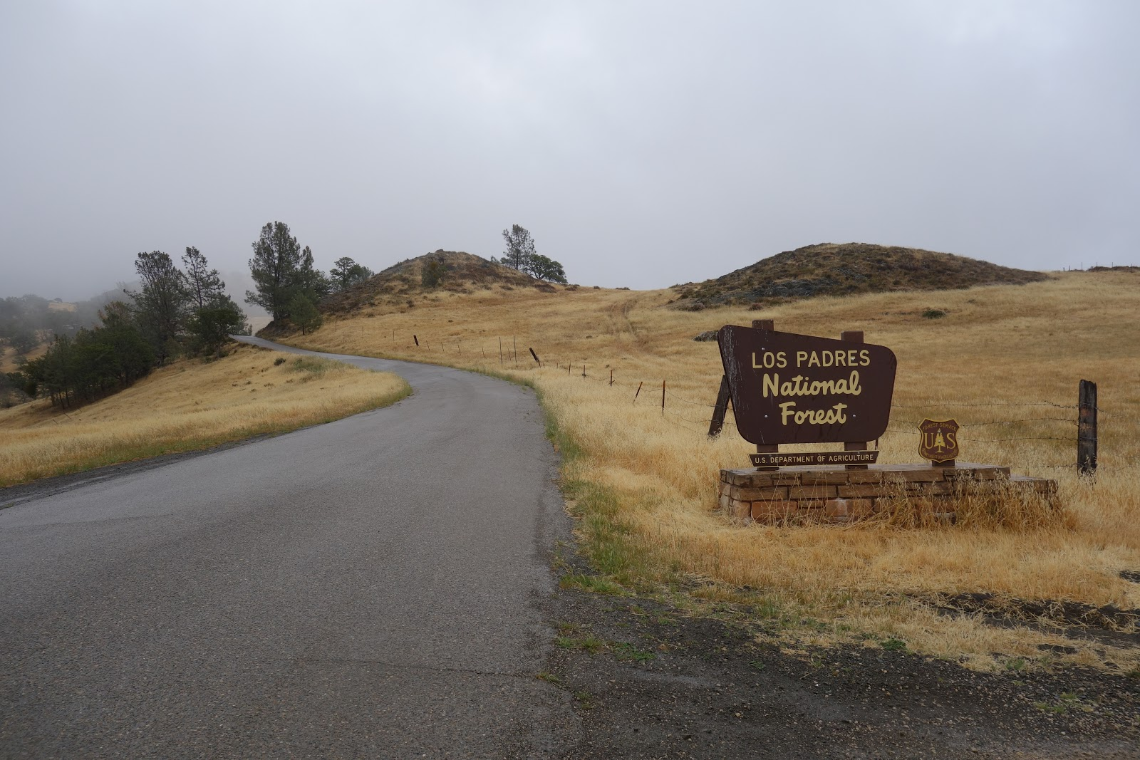 Cycling Figueroa Mountain Road west - Los Padres National Forest sign