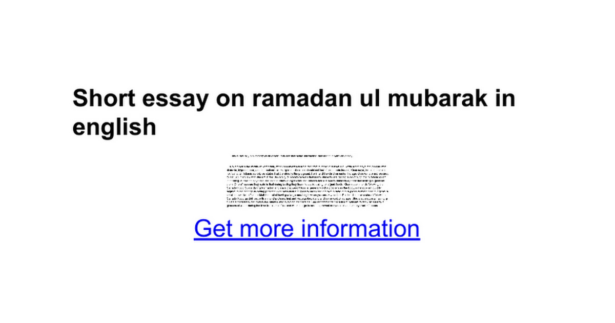 short essay on ramadan ul mubarak in english google docs