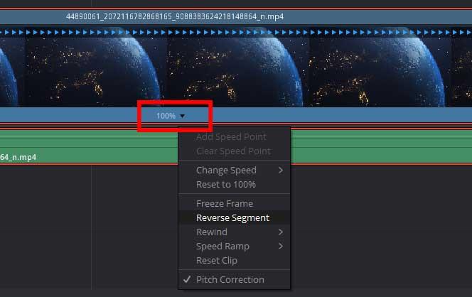 Reverse a Clip in DaVinci Resolve using retime software