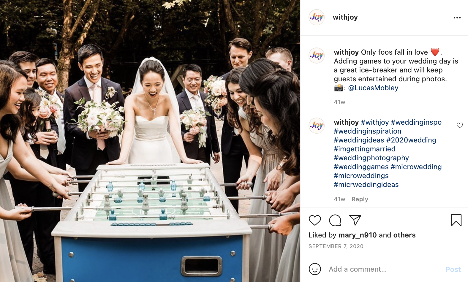 a bride and the bridal party play foosball