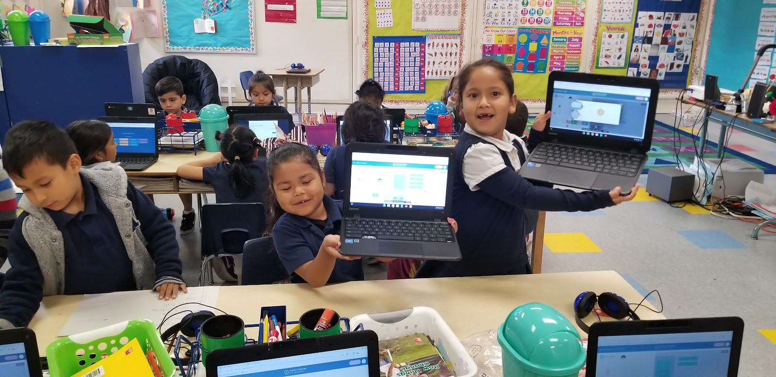 Get Coding Kindergarten students at Longfellow Elementary show off their coding solutions