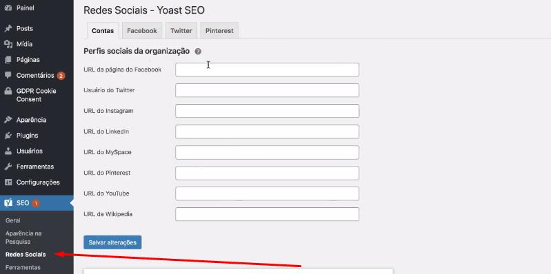 configuração redes sociais no plugin Yoast