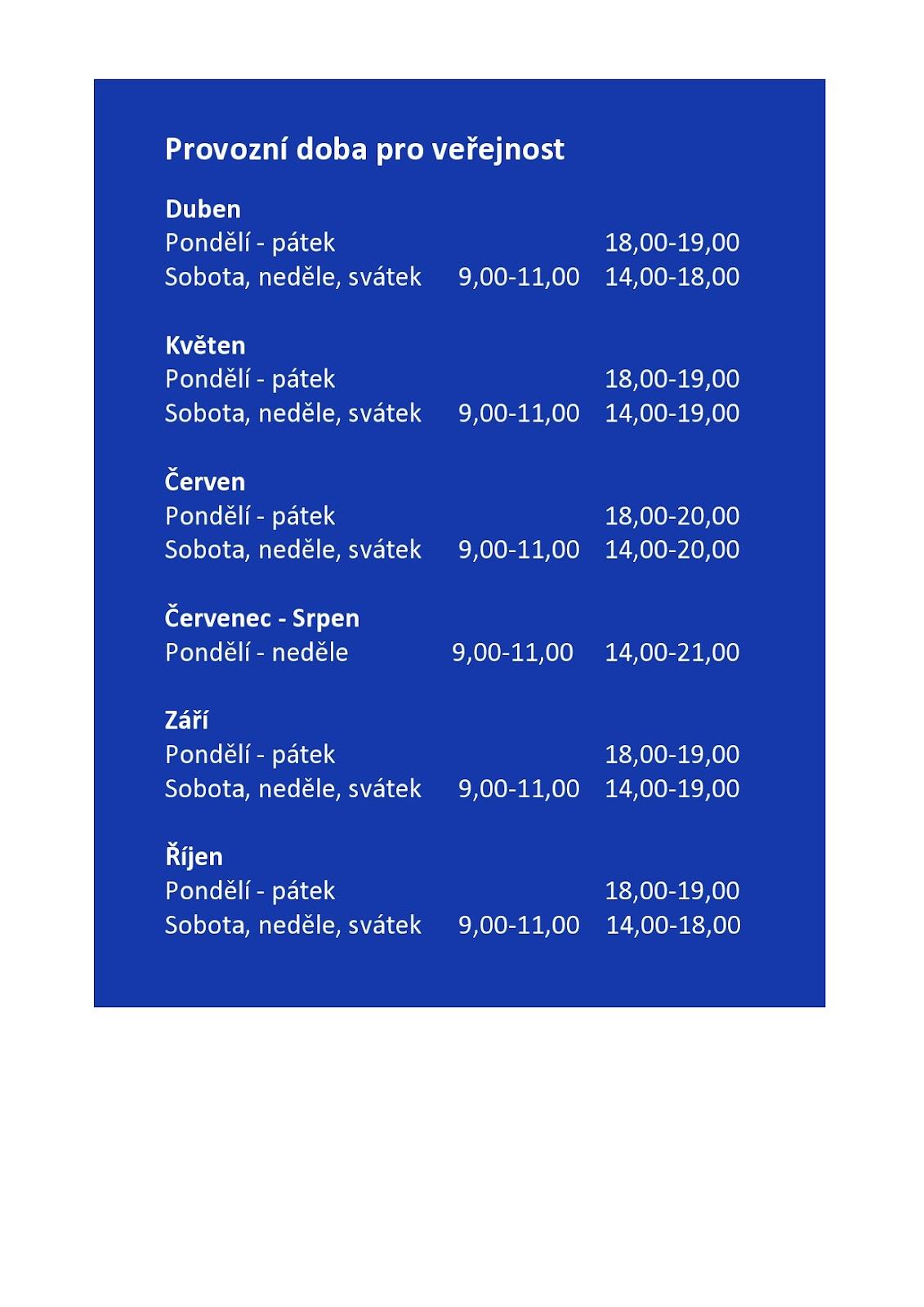 Provozní doba pro veřejnost page0001