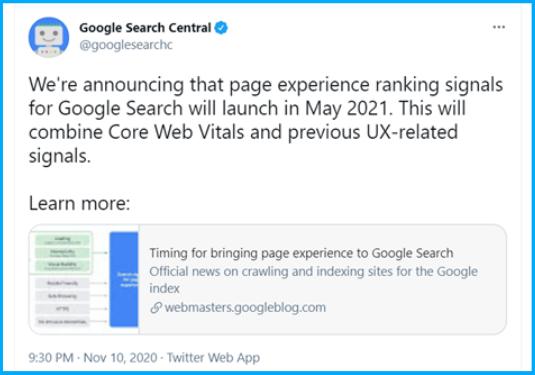 core web vitals tweet
